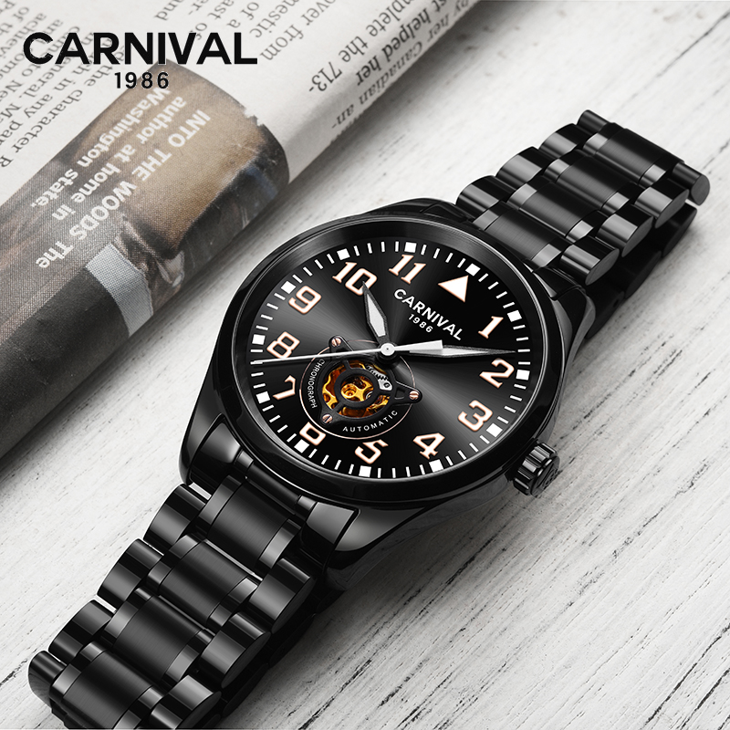 CARNIVAL Men s Self Wind Tourbillon Mechanical Watches Luxury Waterproof Automatic Skeleton Watch Men Relojes Hombre