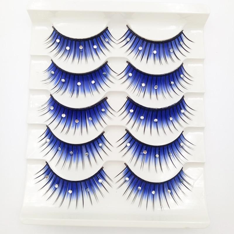 5 Pair 3D Rhinestone False Eyelashes Long Thick Lashes Extension Eyelash Party Bar Halloween Supplies Eye Makeup Blue