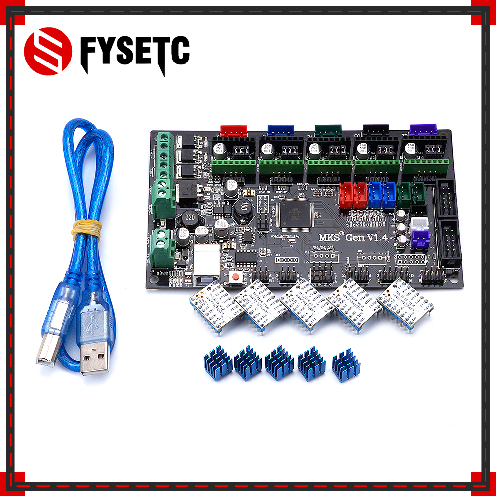 MKS Gen V1.4 Control Board Mainboard Compatible With Ramps1.4/Mega2560 R3 + 5PCS TMC2130 V1.0 Stepper Motor For 3D Printer Parts mks gen v1 4 control board mainboard compatible with ramps1 4 mega2560 r3 5pcs tmc2130 v1 0 stepper motor for 3d printer parts