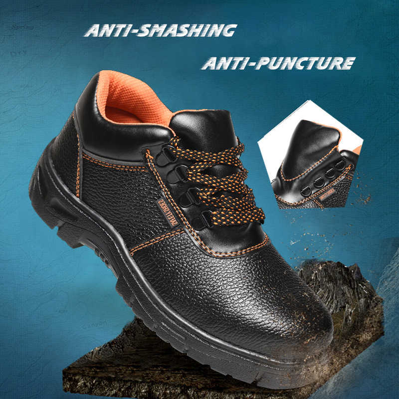 1dcfb3daf80 Men's Steel Toe Cap Work Safety Shoes Men 2018 Fashion Outdoor Anti-slip  Puncture Proof Construction Anti-smashing Sneaker 35-46