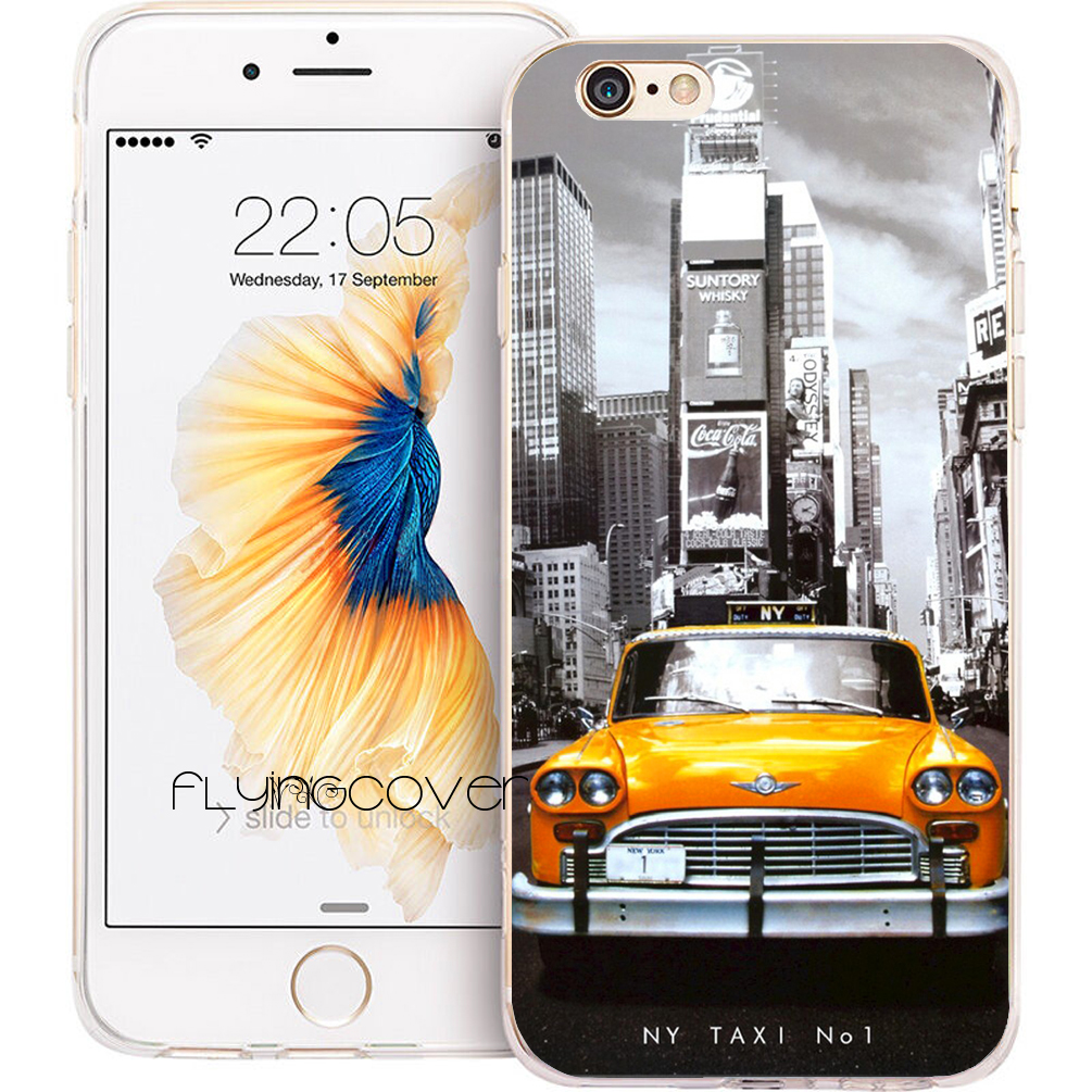 Coque NEW YORK TAXI NO.1 Transparent Soft TPU Silicone Phone Cover for iPhone X 7 8 Plus 5S 5 SE 6 6S Plus 4S iPod Touch 6 5Case