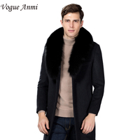 Vogue Anmi Winter Wool Coat Slim Fit Jackets Fashion Fox Fur Collar Warm Man Casual Jacket