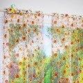 Шторы на окна  прозрачные оранжевые цветы  для дома  гостиной  вуаль  1 шт./лот