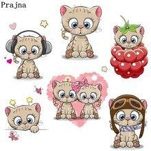 Prajna Cartoon Cherry Cat In Love Iron-on Transfer Set Patch Baby Owl Hot Vinyl Press Sticker DIY Dress Kids Clothing Accessory