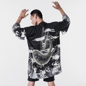 Image 5 - Мужская гавайская рубашка, японское кимоно, кардиган, Харадзюку, Японская уличная одежда, Классная блузка, рубашка, KK001