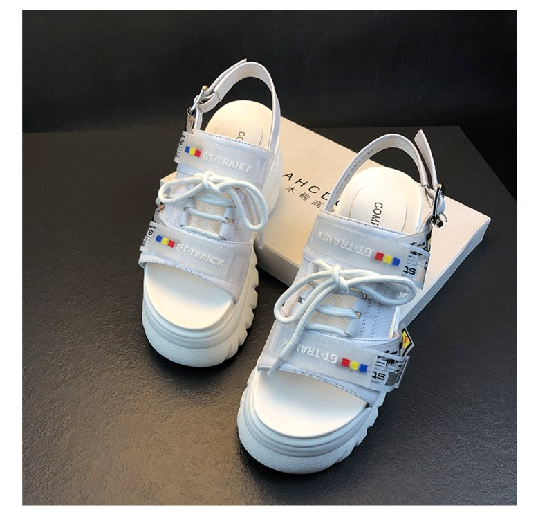 HTB14Db1OSzqK1RjSZPcq6zTepXaE 2019 Summer Chunky Sandals Women 8cm Wedge High Heels Shoes Female Buckle Platform Leather Casual Summer Slippers Woman Sandal