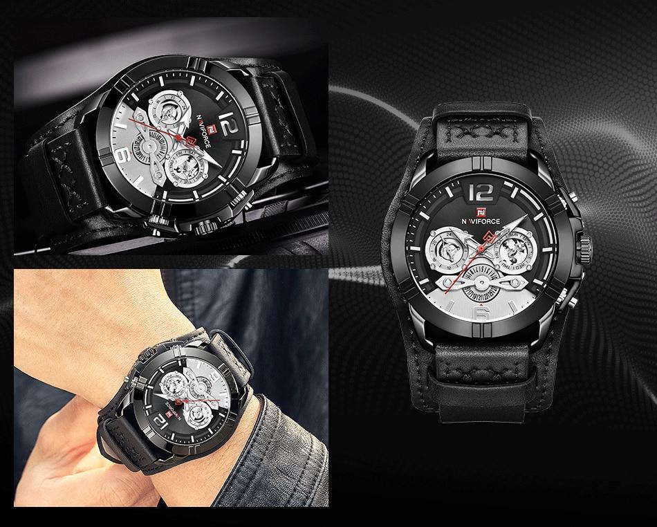 jpg Naviforce Men Watch Leather Army Military Retro Steampunk Sports Male Quartz Watch Wristwatch With Date Hodinky Relojes Hombre (8)
