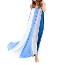 Summer Casual Spaghetti Strap Dress Women Elegant Chiffon Long Dress Striped Beach Maxi Dresses Sundress все цены