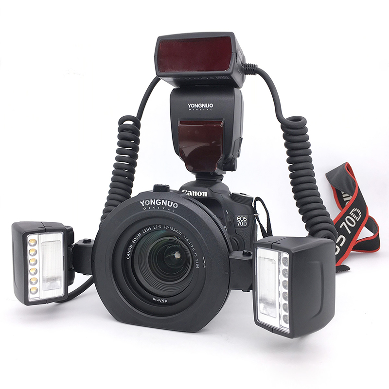 Ulanzi YONGNUO YN-24EX Macro Twin Lite Ring Flash Speedlite with 2 Flash Head 4 Adapter Ring for Canon 5D Mark II 5D Mark III 6D