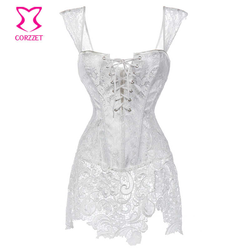 7e58b490f06 XS-6XL White Brocade Hollow Out Lace Victorian Gothic Dresses Sexy Short  Corset Dress Plus