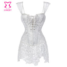 XS-6XL White Brocade Hollow Out Lace Victorian Gothic Dresses Sexy Short Corset  Dress Plus Size Corsets And Bustiers With Straps 5541ec84a971