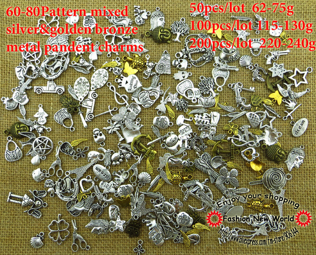 60-80pattern Mixed 50pcs silver Charms Antique Bronze Plated Alloy Pendant Jewelry Findings