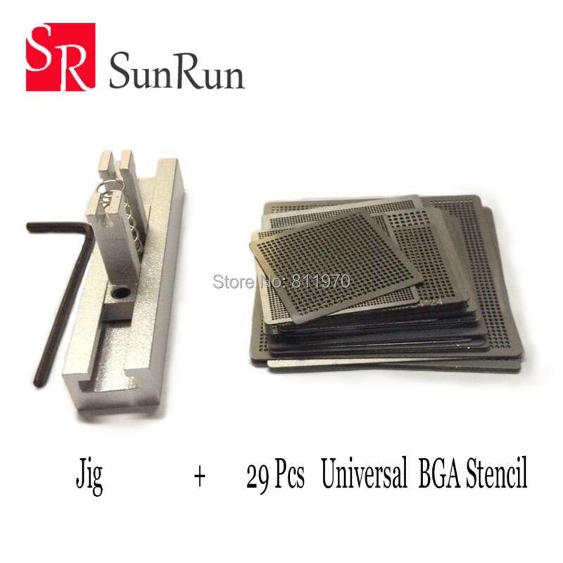 29 piezas Universal directo calefacción BGA plantillas + Reballing Jig para Chip Rework Repair Kit de soldadura
