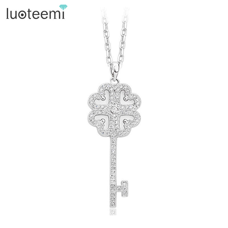 LUOTEEMI Female Lovely Long Design Luxury AAA Cubic Zirconia Micro pave Key Lock font b Pendant