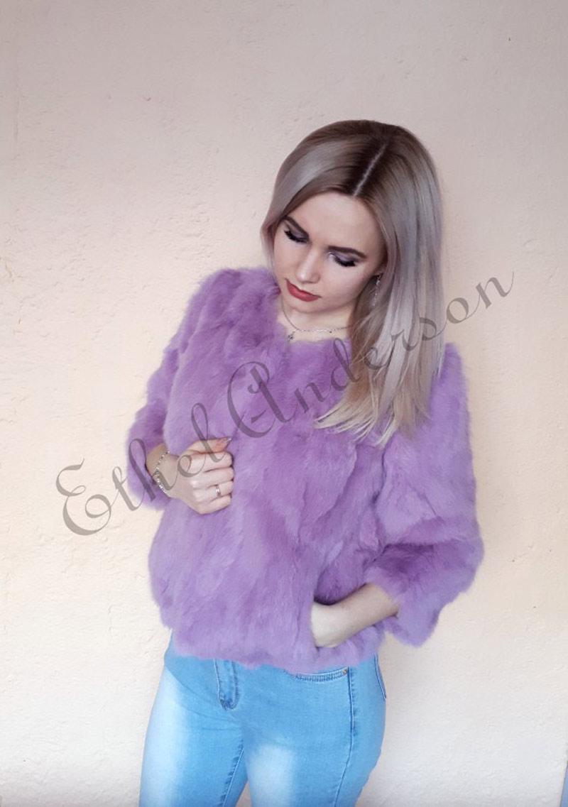 HTB14DbdrH5YBuNjSspoq6zeNFXa3 ETHEL ANDERSON 100% Real Rabbit Fur Women's Real Rabbit Fur Coat/Jacket Outwear Beauty Purple Color XXXL Size Coat