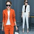 Escritório Senhoras Calças Terno Novo 2017 Ternos de Negócio ternos Formais Pant Ternos Mulheres Trabalham Personalizado Festa À Noite com Blazer Preto Branco