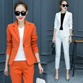 Office Ladies Trouser Suit New 2017 Business Formal Pant Suits Women Work Custom Evening Party Suits with Blazer White Black