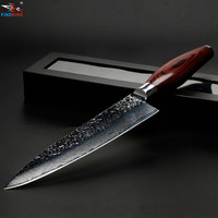 FINDKING new damascus steel blade color wood handle stone shape 8 inch damascus knife chef knife 67 layers damascus steel knife