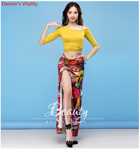 Image 4 - New Dance Wear Women Class Wear Silk Ice Fabric Stretchy Off shoulder Sleeves Classic Belly Dance Skirt Costume Set