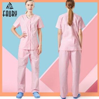 High Quality Summer Medical Surgical Uniforms Doctor Nurse Uniforms Dental Pet Hospital Beauty Salon Spa Breathable Clothes