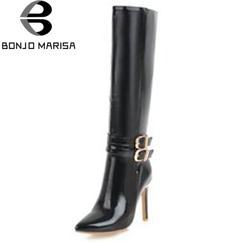 BONJOMARISA 2018 Autumn Winter Plus Size 34-43 Patent PU mid-calf Boots Women Mature Pointed Toe High Heels Shoes Woman spring autumn women thick high heel mid calf boots platform woman short boots high heels shoes botas plus size 34 40 41 42 43