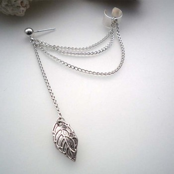 Personality Leaf Tassel Clip Earrings for Women Ear Cuff Bijoux Gold Silver Color 2