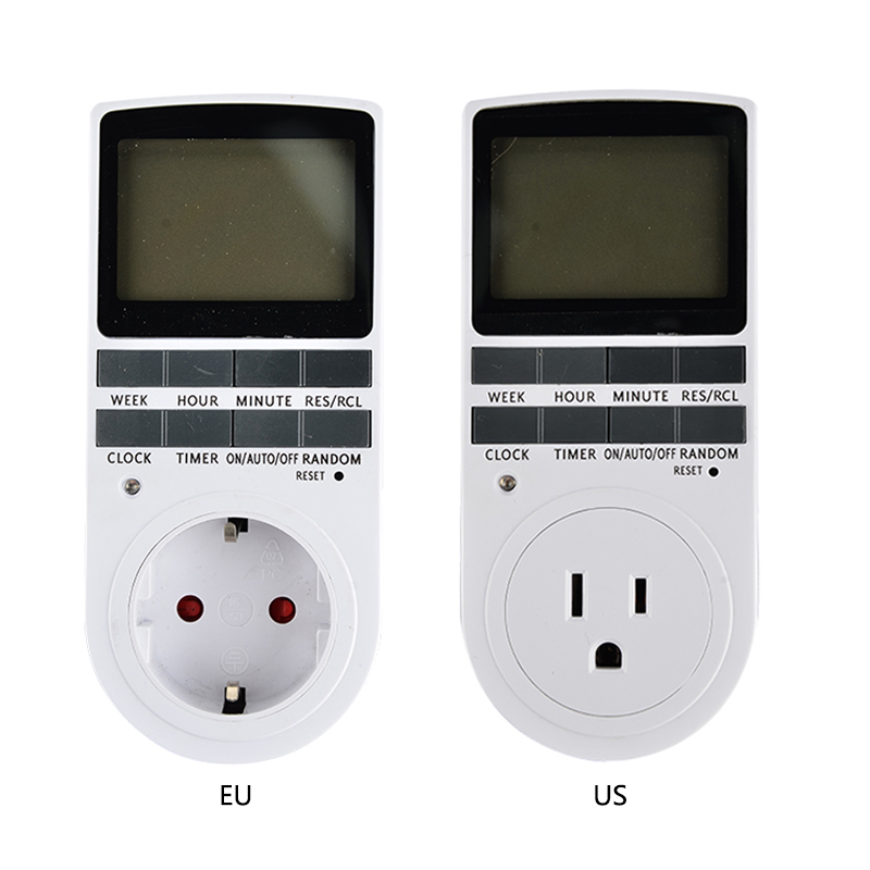 Digital LCD Display 7 Day 24 Hour Timer Switch Socket EU US Plug-in Programable