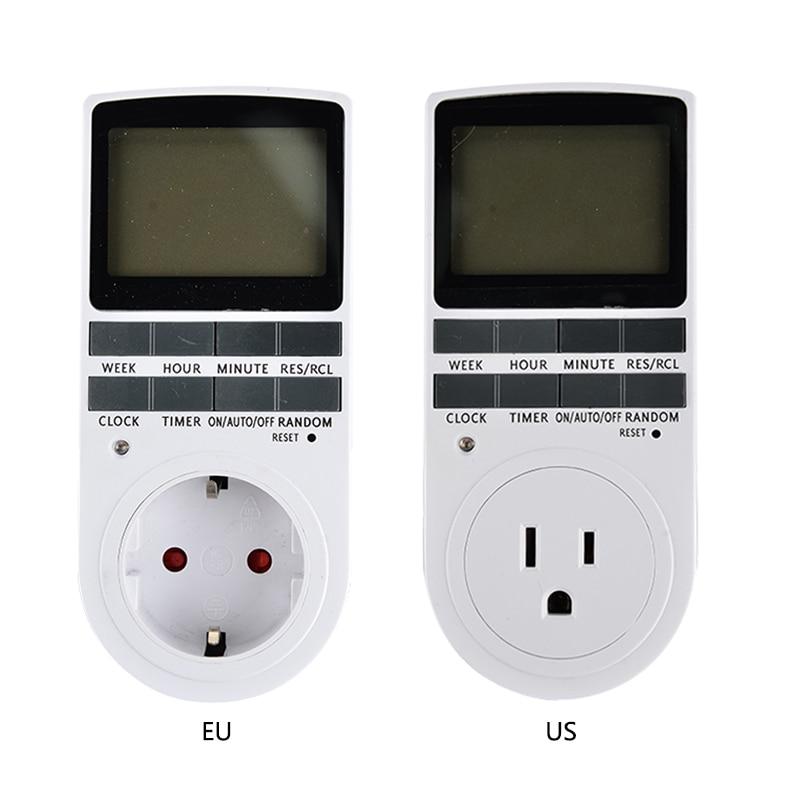 Digital LCD Display 7 Tag 24 Stunde Timer Schalter Buchse EU UNS Plug-in Programmierbare