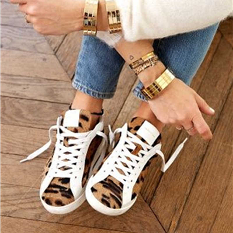 New Genuine Leather Leopard Print Women Casual Shoes Cowhide Do Old Dirty  Shoes Autumn Winter Trainers e7a4c7ea48c9