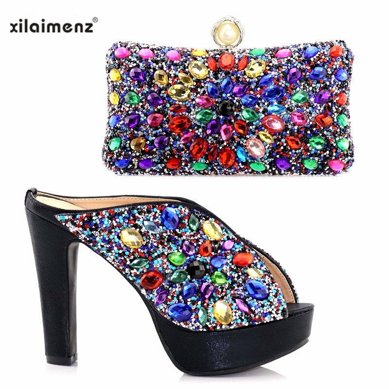 Zapatos Para sliver Zapatilla Nueva Que Blue Alto gold sky Black Boda Africana De Con Piedras Multicolor Y Embrague Mujer Moda Tacón Fiesta Combinan Negro AqAExYwfg