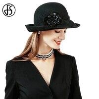 FS בציר צמר הרגיש כובעי החורף נקבה נשים שחור אופנה בריטי כובע סומבררו Mujer רחב ברים פרחוניים פדורה כנסייה