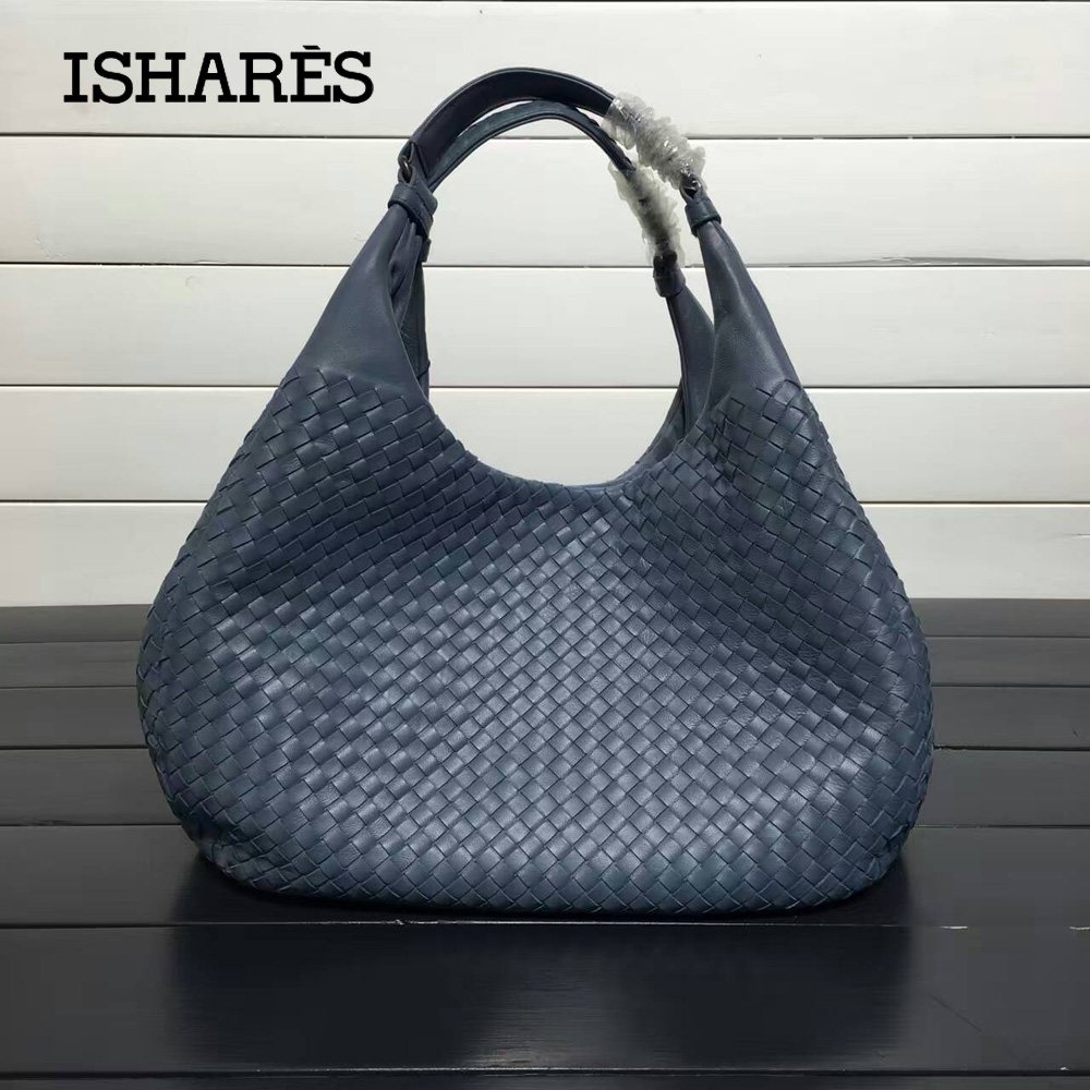 ISHARES Exquisite Handmade Weave Lambskin Handbags Women Brands Fashion Elegant