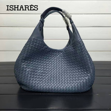ISHARES Exquisite Handmade Weave Lambskin Handbags Women Brands Fashion Elegant Lady Shoulder Bags Female Casual Totes IS125787