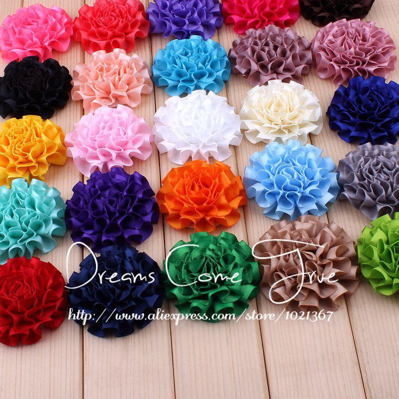 50pcs/lot 5.5CM 25Colors Newborn Artificial Ribbon Fabric Flowers For Headbands Handmade Satin Hair Flower For Hair Accessories