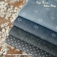 748f51fae1662 Retro Denim Blue Sea Kotwica Jade Japoński Kolorowe Barwione Tkaniny  Bawełnianej Koszuli W Paski Zwykły Pierwsza