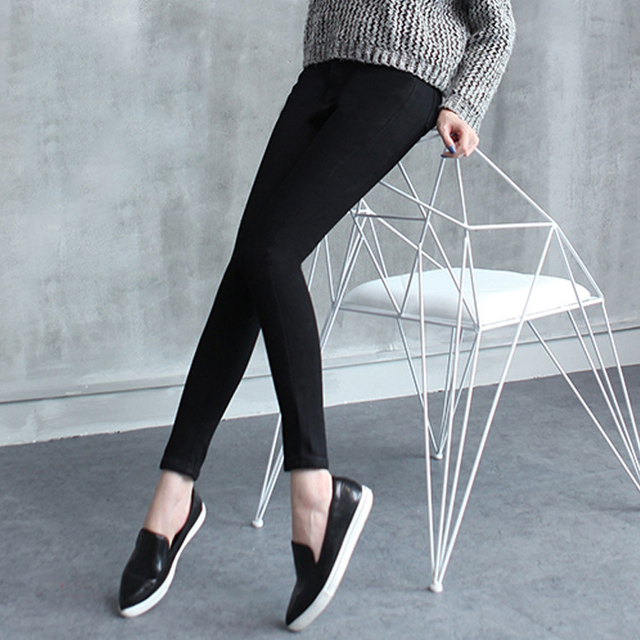 High Waist Winter Pregnant Clothes Skinny Pants For Pregnant Women Maternity Clothing For Women