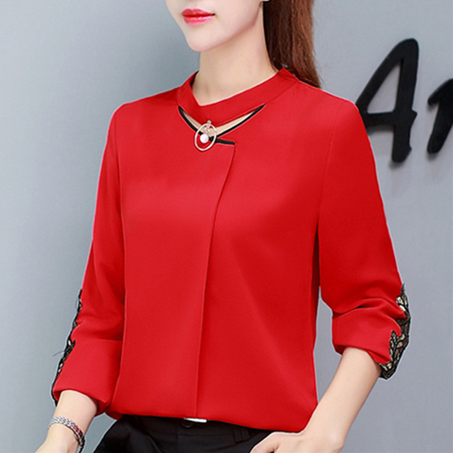 e88fe75cb9d582 Autumn Womens Tops And Blouses Long Sleeve Chiffon Blouse Ladies Tops New  Lace Patchwork Women Shirts Clothes White Blusas Mujer