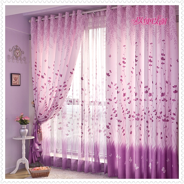 Rural Simple Style Printed Custom Made Finished Curtains for Living ...