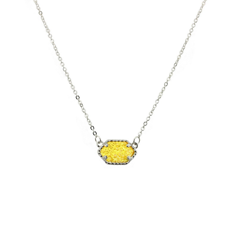 الجملة مجوهرات كانساس الذهب والفضة تصفيح البيضاوي Druzy قلادة الأزياء قلادة للنساء