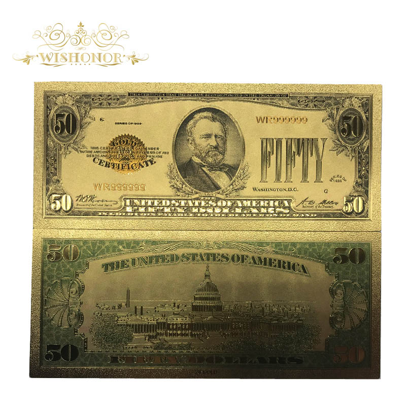 10pcs/lot 1928s American Banknote 50 Dollar in 24k Gold Plated Fake Money Metal Crafts For Gifts And Collection