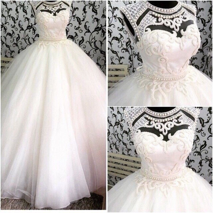 Bride Dress Cap Sleeve Beading Pearls Patterns Ball Gown Wedding ...