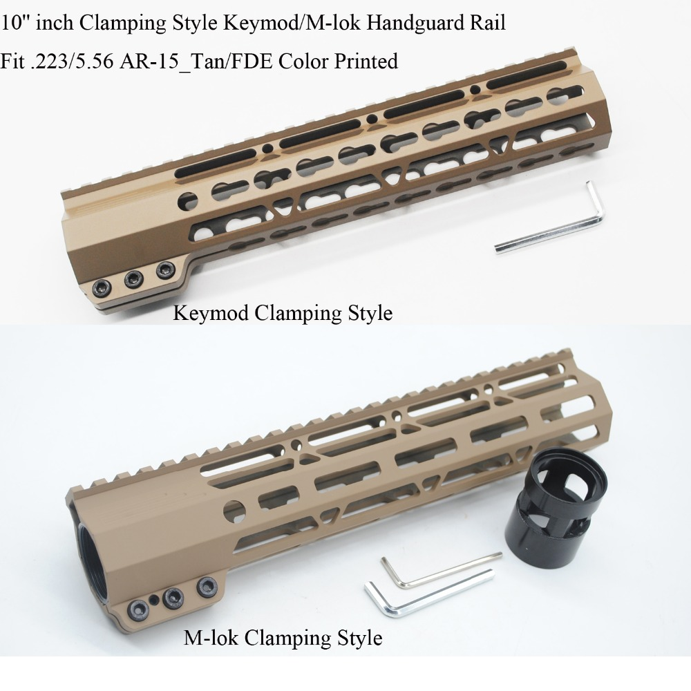 TriRock 10 inch Clamping Style Keymod M lok Handguard Rail Picatinny Mount System Free Float Hand