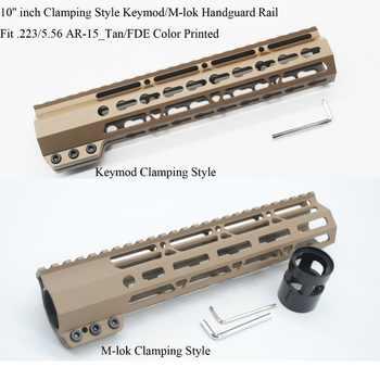 TriRock 10\'\' inch Clamping Style Keymod/M-lok Handguard Rail Picatinny Mount System Free Float Hand Guard _ Tan/FDE Printed - SALE ITEM Sports & Entertainment