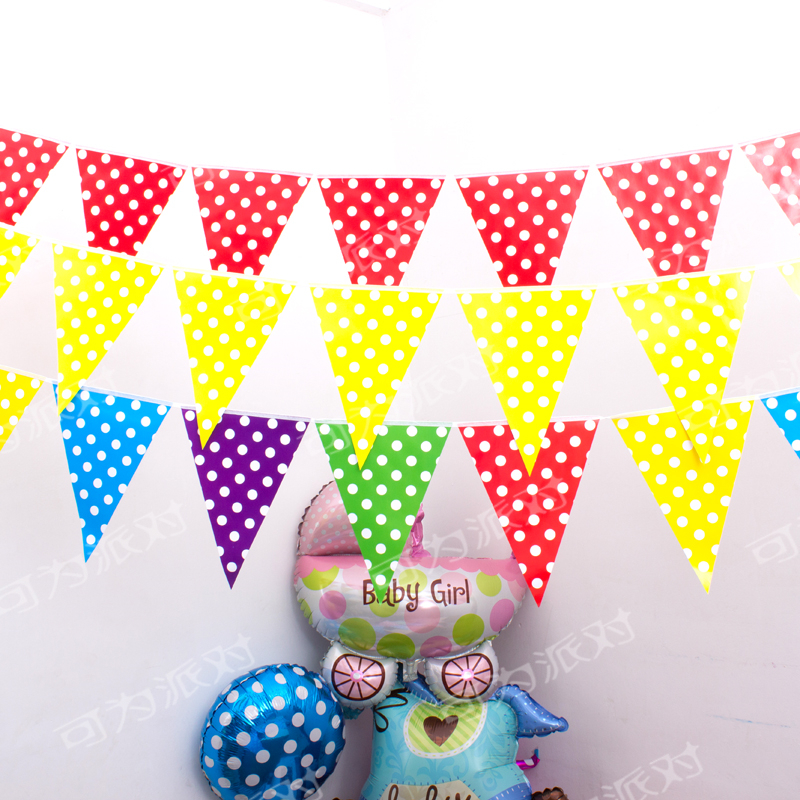 2.5M Decoration Baby Shower Banner Kids Favors Flags Birthday Party Pennants Blue Pink Green Polka Dots Paper Hanging Garlands
