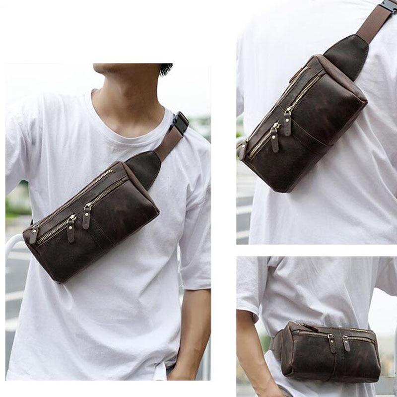 High Quality Crazy Horse Cowhide Waist Chest Bag Genuine Leather Vintage Sling Messenger Bags Men Hip