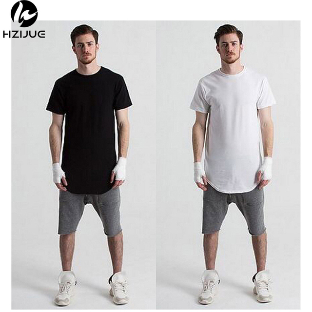 7521d3163 HZIJUE 2017 Hot Moda Masculina de Hip Hop Dos Ganhos Camisa Longa T de  Grandes Dimensões