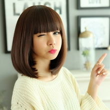 3Colors black/brown long bob synthetic hair wig,classic girl's daily full hair wig peruca,women's party anime cosplay hair wig