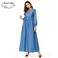 Water's Edge Denim Embroidery 2018 Autumn Women Dress Long Robe Large Size Female Vestidos Big Size Casual Office Clothes 4xl
