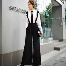 Dabuwawa women elegant ruffles button straps Pockets Long Wide Leg Romper Strappy Overalls Casual Loose Solid