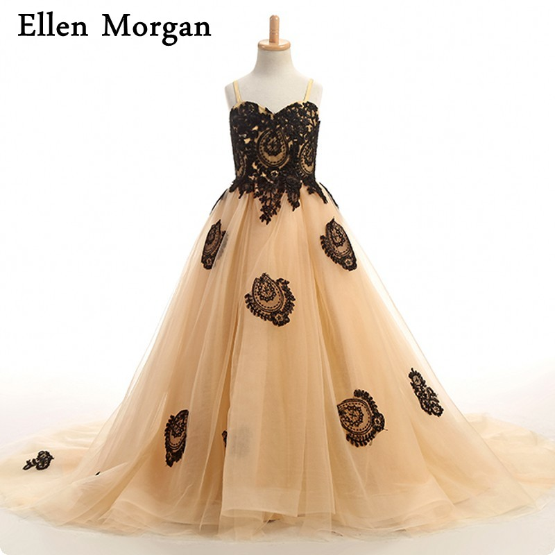 Gold   Flower     Girls     Dresses   Sexy Children Images Straps Mother and Daughter Black Lace Tulle Baby Little Kids Pageant   Dresses   2017